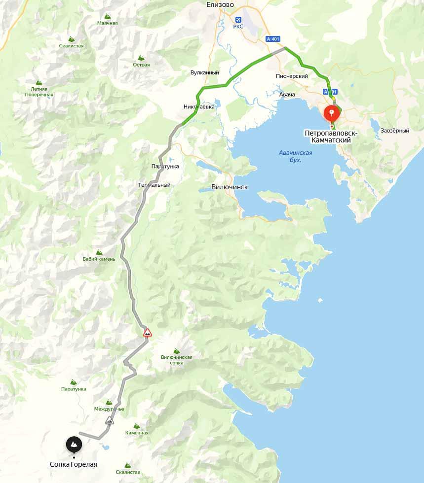 Маршрут на вулкан Горелый - туры и экскурсии на Камчатке